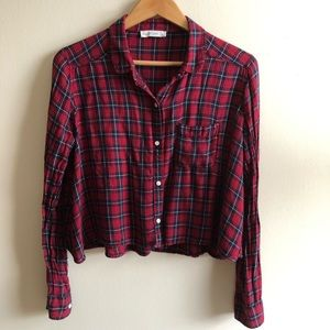 Abercrombie&fitch cropped flannel shirt
